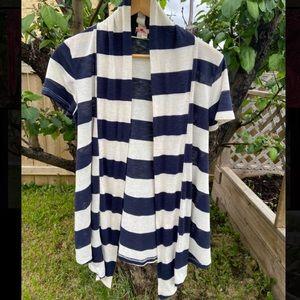 Striped short sleeve cardigan ( jersey)